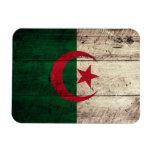 Old Wooden Algeria Flag Vinyl Magnets