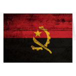Old Wooden Angola Flag Greeting Cards