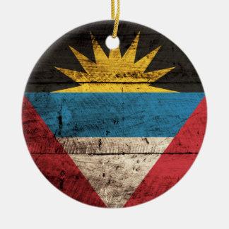 Old Wooden Antigua Barbuda Flag Christmas Ornament