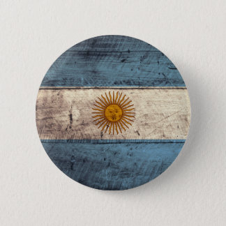 Old Wooden Argentina Flag 6 Cm Round Badge
