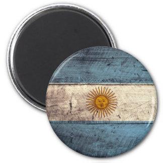 Old Wooden Argentina Flag 6 Cm Round Magnet