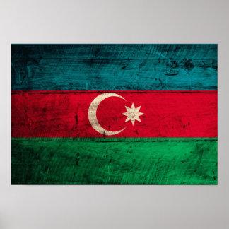 Old Wooden Azerbaijan Flag Poster