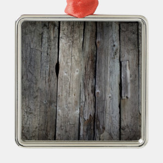 Old wooden background Silver-Colored square decoration