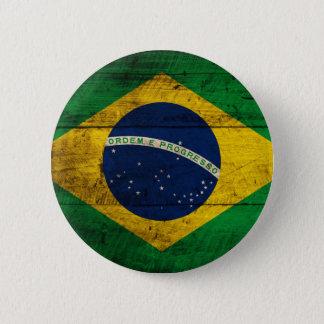 Old Wooden Brazil Flag 6 Cm Round Badge