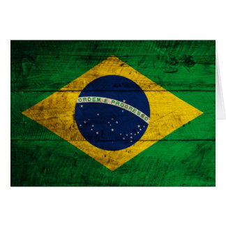 Old Wooden Brazil Flag Card