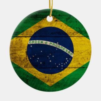 Old Wooden Brazil Flag Christmas Ornament