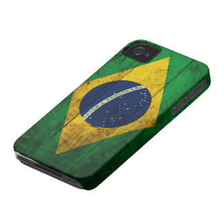Old Wooden Brazil Flag iPhone 4 Case