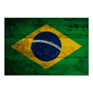 Old Wooden Brazil Flag Poster