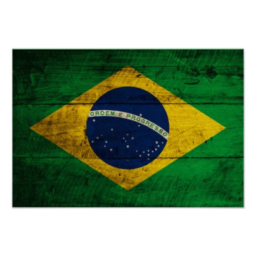 Old Wooden Brazil Flag Posters