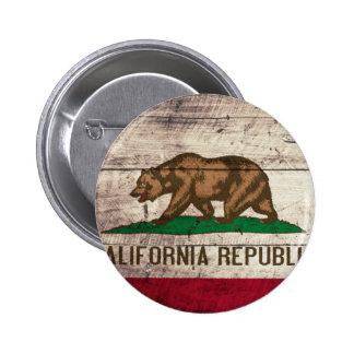 Old Wooden California Flag 6 Cm Round Badge