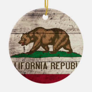 Old Wooden California Flag Christmas Ornament