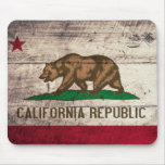 Old Wooden California Flag Mousepads
