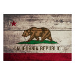 Old Wooden California Flag Poster