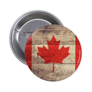 Old Wooden Canadian Flag 6 Cm Round Badge