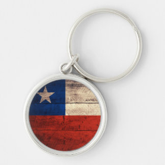 Old Wooden Chile Flag Silver-Colored Round Key Ring