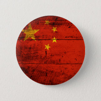 Old Wooden China Flag 6 Cm Round Badge