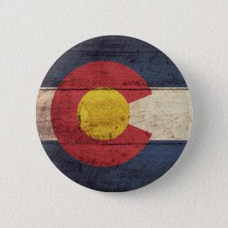 Old Wooden Colorado Flag 6 Cm Round Badge