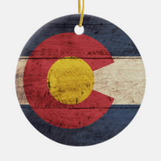 Old Wooden Colorado Flag Christmas Ornament