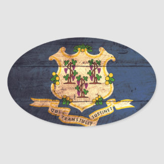 Old Wooden Connecticut Flag Sticker