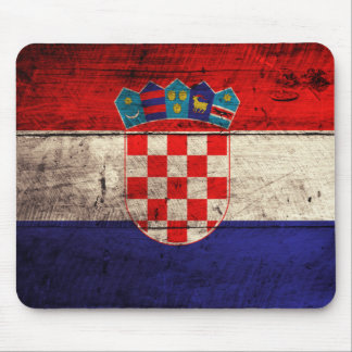 Old Wooden Croatia Flag Mouse Mat