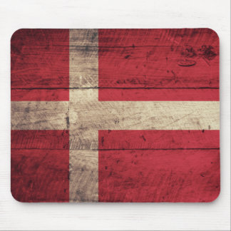 Old Wooden Denmark Flag Mouse Mat