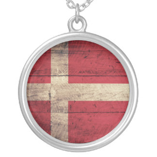 Old Wooden Denmark Flag Silver Plated Necklace
