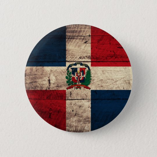 Old Wooden Dominican Republic Flag 6 Cm Round Badge