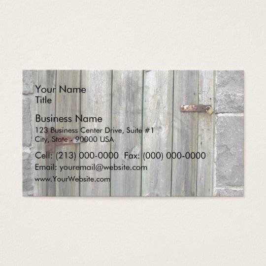 Old Wooden Door In A Stone Wall Business Card