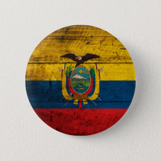 Old Wooden Ecuador Flag 6 Cm Round Badge
