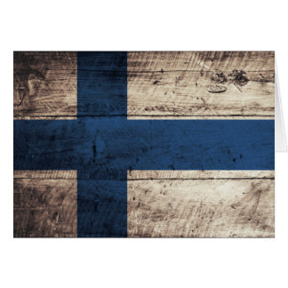 Old Wooden Finland Flag Card