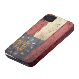 Old Wooden Georgia Flag; Case-Mate iPhone 4 Cases