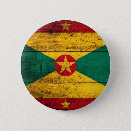 Old Wooden Grenada Flag 6 Cm Round Badge