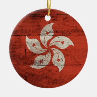 Old Wooden Hong Kong Flag Christmas Ornament
