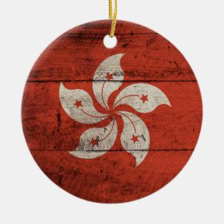 Old Wooden Hong Kong Flag Round Ceramic Decoration