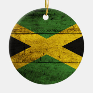 Old Wooden Jamaica Flag Christmas Ornament