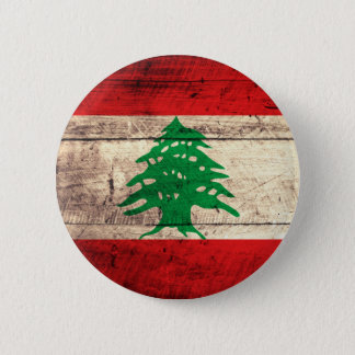 Old Wooden Labanon Flag 6 Cm Round Badge