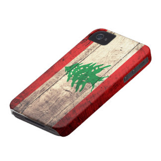 Old Wooden Labanon Flag iPhone 4 Cases
