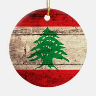 Old Wooden Labanon Flag Christmas Ornament