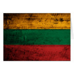 Old Wooden Lithuania Flag Cards