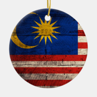 Old Wooden Malaysia Flag Christmas Ornament