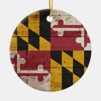 Old Wooden Maryland Flag Round Ceramic Decoration