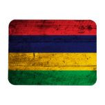 Old Wooden Mauritius Flag Rectangular Magnets