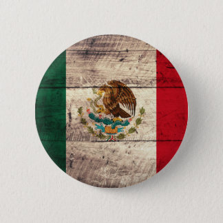 Old Wooden Mexico Flag 6 Cm Round Badge