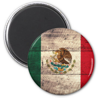 Old Wooden Mexico Flag 6 Cm Round Magnet