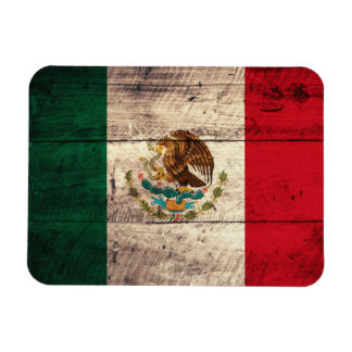 Old Wooden Mexico Flag Rectangular Photo Magnet