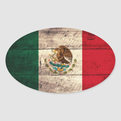 Old Wooden Mexico Flag Oval Sticker