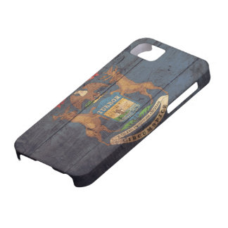 Old Wooden Michigan Flag; iPhone 5 Case