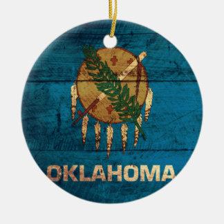 Old Wooden Oklahoma Flag; Christmas Ornament