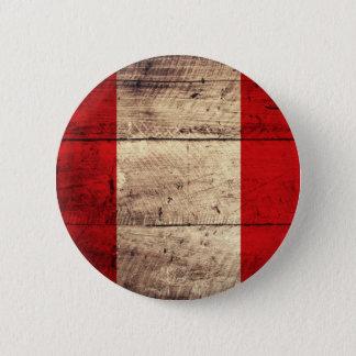 Old Wooden Peru Flag 6 Cm Round Badge