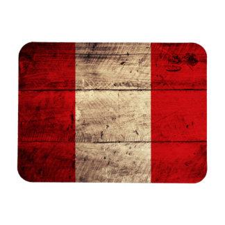 Old Wooden Peru Flag Rectangular Magnet